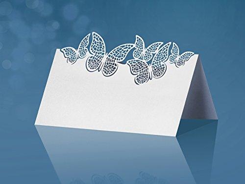 SiDeSo 10 Tischkarten kleine Schmetterling Hochzeit Feier Tischdeko Platzkarten