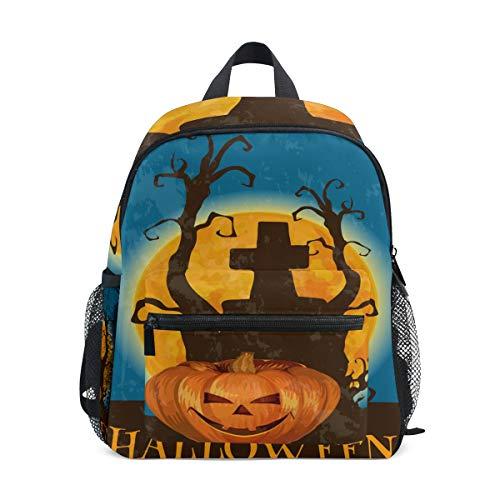 BIGJOKE Kinder Rucksack Halloween Kürbis Zitat Kleinkind Schulranzen Schulranzen Vorschule Kindergarten für Mädchen Jungen