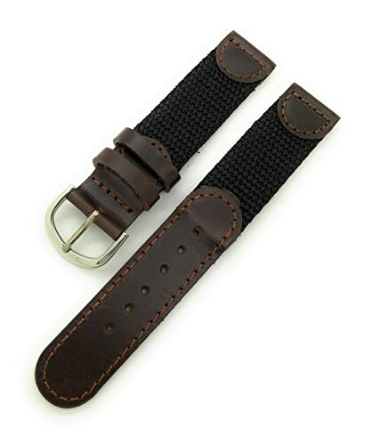 18mm Canvas Nylon Leather Watch Band Swiss Army Style (Black with Brown)