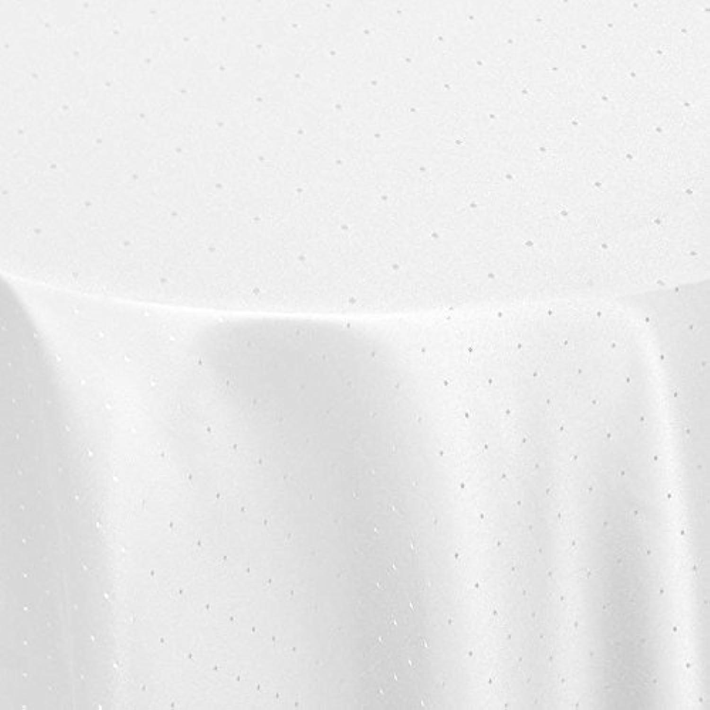Damast Tischdecke Maßanfertigung Punkte (Weiss,Ø 140 cm) (Rund) B01MZF8QPI
