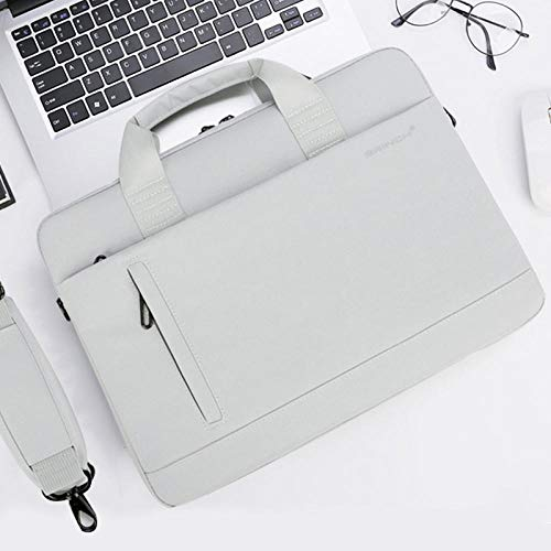 OWIME Portable Laptop Shoulder Bag Large Capacity 13.3 14 15.6 Inch For Macbook Men Women Travel Briefcase Bussiness Handbag (Color : White gray, Size : ThinkPad x1 carbon)