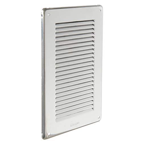 La Ventilazione GIN1424R - Rejilla de ventilación inoxidable 430 rectangular con red antiinsectos, tamaño 140 x 240 mm
