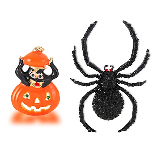 NLCAC Halloween Black Widow Spider Brooch Pin Cute Halloween Pumpkin Pin Brooches for Halloween Costumes Accessories