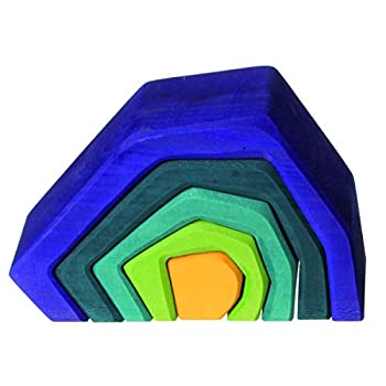 Grimm s Large Stone Caves Nesting Wooden Sculptural Blocks Stacker  Elements  of Nature  EARTH