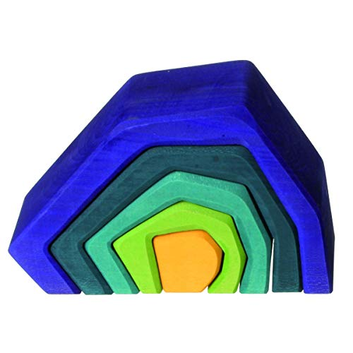 Grimms Large Stone Caves Nesting Wooden Sculptural Blocks Stacker, Elements of Nature: EARTH