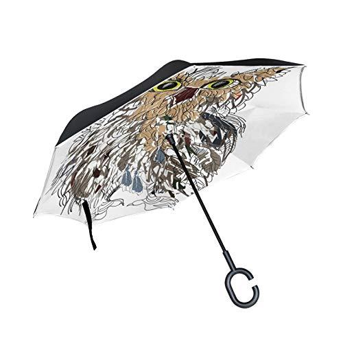 Double Layer Inverted Umbrella Winddichte Regensonnen-Regenschirme mit C-förmigem Griff - süßer Mops-Kopf und roter Weihnachtsstern mit Weihnachtsblumen