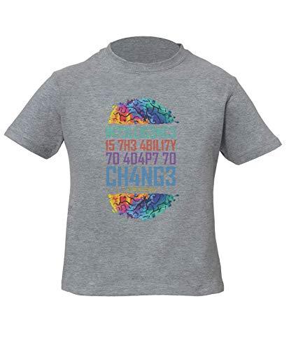 Intelligence Is The Ability To Adapt To Change Stephen Hawking Niños Unisexo Niño Niña Camiseta Gris Kids Unisex Boys Girls Grey T-Shirt Tshirt T Shirt