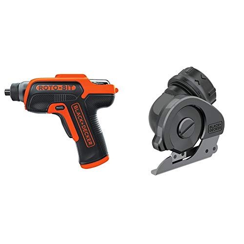BLACK+DECKER 4V MAX Cordless Screwdriver with Bit Storage & Multi Cutter Attachment (BDCS50C & BDCSMCA)