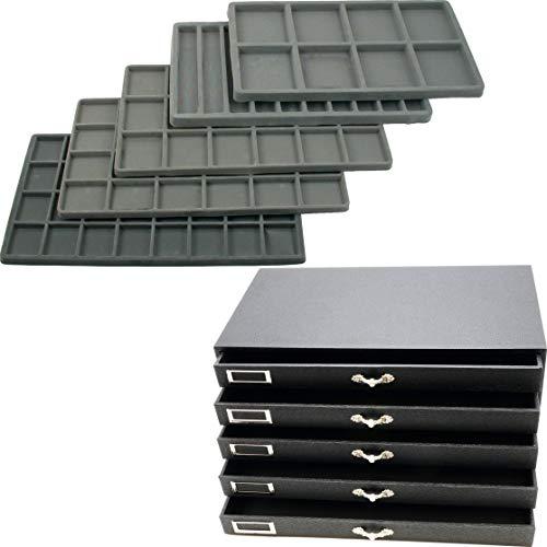 5 Drawer Jewelry Organizer Storage Display Case Box w/Inserts