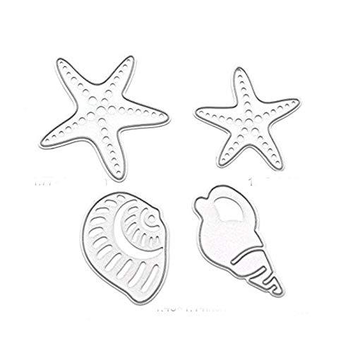4PCS/Set DIY Metal Sea Star Conch Seashell Metal Cutting Dies Stencils for DIY Card Making Album Scrapbooking Craft Die Embossing Paper Cut Autumn Harvestdies-Cutting Dies Cut Metal Scrapbooking