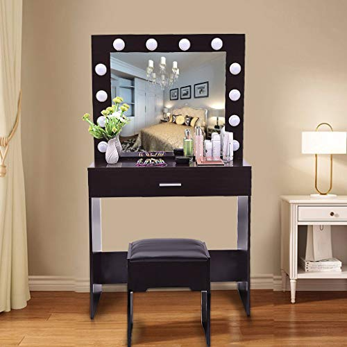 Vanity Sets With Mirror And Bench,Vanity Set with Lighted Mirror,LED Dressing Table with Large Drawer for Bedroom,Vanity Set With 12 Light Bulbs,With Cushioned Stool Mirror Vanity (Walnut)