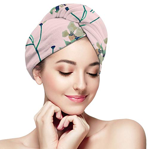 Bettiboy Oil Painting Tropical Long Microfiber Hair Towel Wrap for Women Super Absorbent Quick Dry Hair Turban for Drying Curly Spa Towel 11¡± X 28¡±