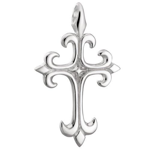 Vinani Anhänger Kreuz glänzend Fleur de Lis Lilie Ritter Sterling Silber 925 AKK-EZ