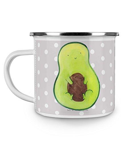 Mr. & Mrs. Panda Metalltasse, emailliert, Camping Emaille Tasse Avocado mit Kern - Farbe Grau Pastell