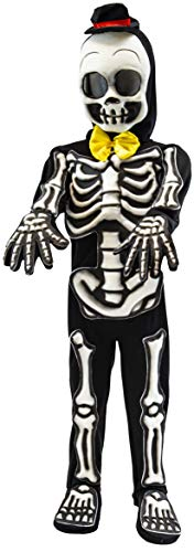 Spooktacular Creations Costume da Scheletro per Bambini Skelebones Vestito Scheletro Glow in The Dark per Halloween Dress Up Party (Nero) (Black, Small)