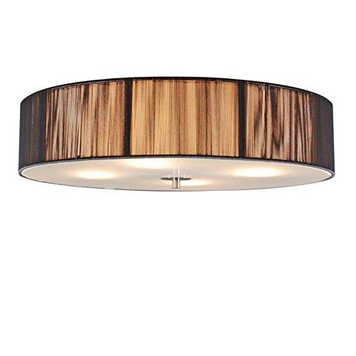 QAZQA Modern Klassische Deckenleuchte/Deckenlampe/Lampe/Leuchte Anthrazit 50 cm - Rope/ 4-flammig/Innenbeleuchtung/Wohnzimmerlampe/Schlafzimmer/Küche Metall/Textil Zylinder/Rund LED ge