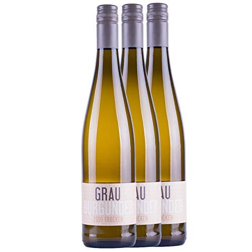 """Nehrbaß - """"Grauburgunder 2019"""" Weißwein trocken 3 x á 0,75 Liter - Qualitätswein - Vegan - Aus Deutschland (Rheinhessen) - Trockener Weiß-Wein mit Schraubverschluss"""
