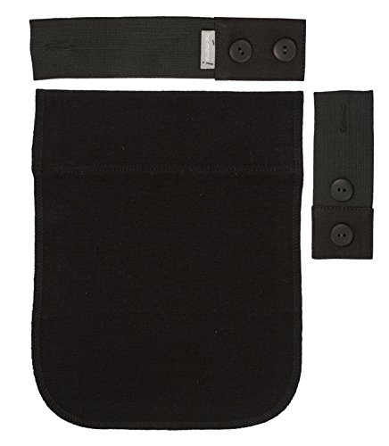 Be! Mama Gummi-Schwangerschaftsgürtel-Verlängerungsset für Hosen, 2 bis 18 cm, Schwarz