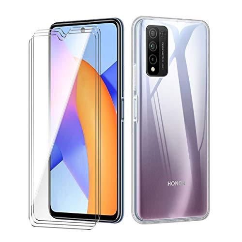 "WenJie Coque pour Huawei Honor 10X Lite + 3 Pack Verre Trempé, Transparent Housse de Protection Etui Silicone Cover TPU Case Shell - Film Protecteur écran pour Huawei Honor 10X Lite (6.67""), Clear"