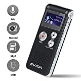 COVVY Portable Digital Voice Recorder Sound Audio Recorder Dictaphone LCD Recorder MP3 Player-8GB (Black)