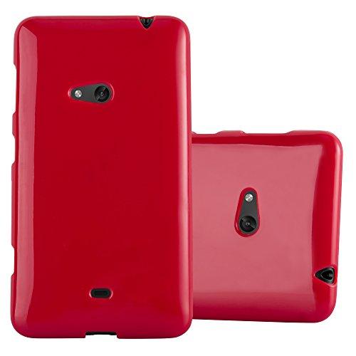 Cadorabo Hülle für Nokia Lumia 625 - Hülle in Jelly ROT – Handyhülle aus TPU Silikon im Jelly Design - Silikonhülle Schutzhülle Ultra Slim Soft Back Cover Case Bumper