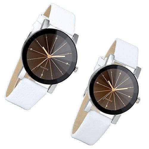 Lancardo Reloj [1 par] cuarzo de muñeca para pareja Lovers correa de piel artificial esfera cristal marrón impermeable Business casual blanco