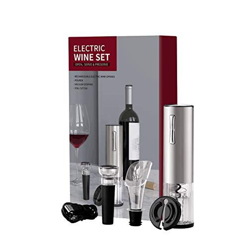 Juego de abridor de botellas de vino eléctrico, sacacorchos automático recargable que contiene cortador de papel de aluminio, tapón de vacío y aireador de vino con cable de carga USB para vino, juego