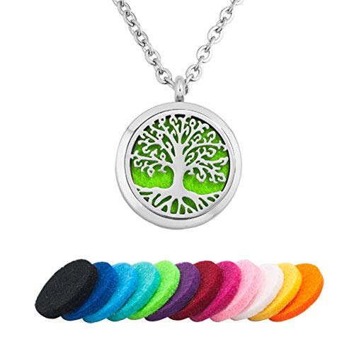 Korliya Family Tree of Life Oil Diffuser Necklace Pendant Aromatherapy Diffuser Locket Refill Pads Women Jewellery Gift (Style 5)