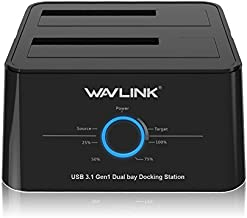 Wavlink USB C 3.1 to SATA Dual Bay External Hard Drive Docking Station with Offline Clone for 2.5/3.5in SSD HDD SATA (SATA I/II/III) 6Gbps, Support 2X 8TB and UASP-Black