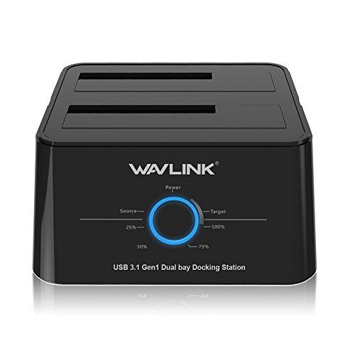 WAVLINK Dual Bay SATA zu USB3.1 USB C Externe Festplatten Docking Station für 2,5 oder 3,5-Zoll-HDD, SSD mit Festplatten Kopierer/Klone-Funktion- Schwarz