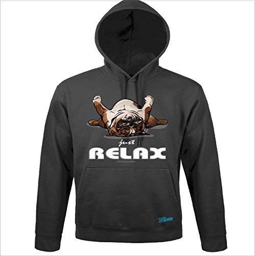 Siviwonder Unisex Kapuzen Sweatshirt Englische Bulldogge Relax Wilsigns Dark Grey XL