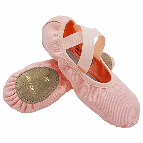 s.lemon Niñas Zapatos de Ballet Danza Lona Elástico Suela Partida Zapatillas de Ballet para Mujer Hombre Rosa 40