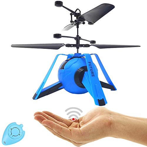 RC Drohne Kinder UFO Quadrocopter Hubschrauber mit Sensorsteuerung (Blau) Einfach zu Steuern per Handbewegung Gestiksteuerung Inklusive IR Fernbedienung Drone Helicopter Drohne für Kinder