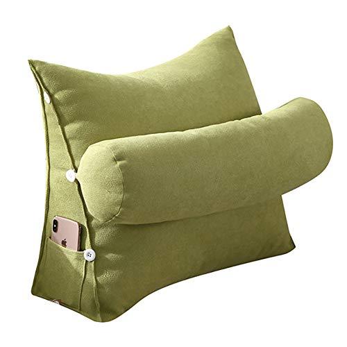 VERCART Kopfkissen Nackenstützkissen Stützkissen Dekokissen Lesekissen Rückenkissen für Lesen Couch Sofa Nackenrolle tv Kissen 45cm Grün