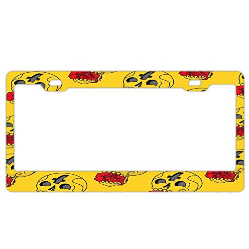 "Promini Abstract Sugar Skulls Flowers Pattern License Plate Frame Car Licence Plate Covers Auto Tag Holder 6"" x 12"""