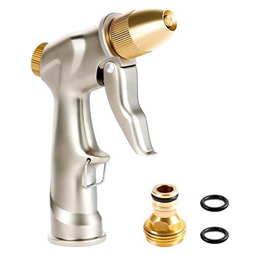 Crenova Garden Hose Nozzle 100% Heavy Duty Metal, Water Nozzle Sprayer with Full Brass Nozzle 8 Patterns, High Pressure Handheld Pistol Grip Sprayer for Watering Plants Lawn Washing Car and Pets