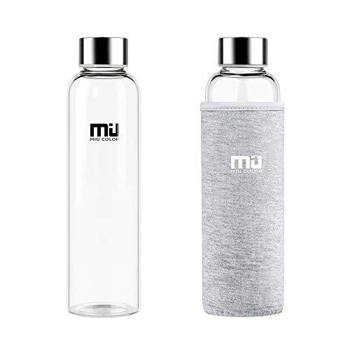 MIU COLOR Stilvolle tragbare 550ml Glasflasche mit Nylon-Tasche Trinkflasche für Auto ohne Teesieb, grau