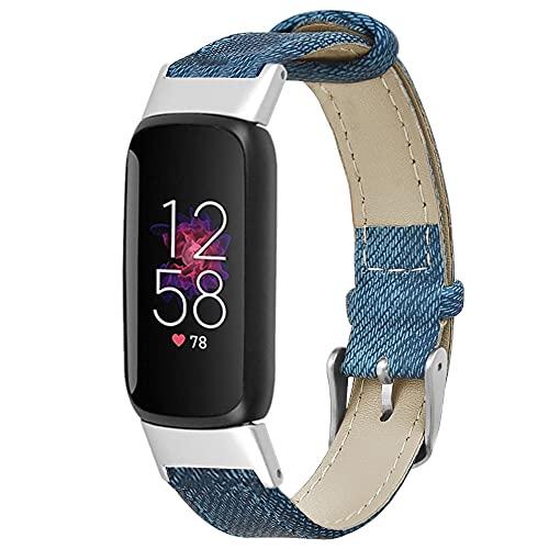 KangPlus Correa de reloj de cuero compatible con Fitbit Luxe, correa deportiva de moda, cómoda, de cuero, suave, correa de repuesto ajustable de 7 a 8.6 pulgadas, para mujeres y hombres, color azul