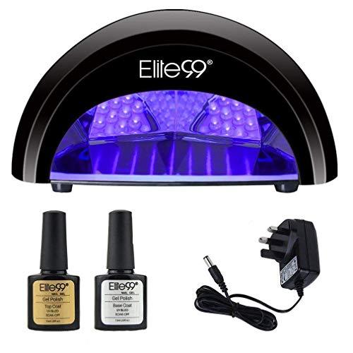 LED Nail Lamp Kit, Elite99 12W Nail Dryer Machine Fast Curing LED Gel with 4 Timers Presets (30s, 60s, 90s, 30min) UK PLUG + FREE TOP BASE COAT SET