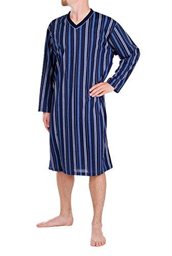 Classic Herren Nachthemd Langarm gestreift (M, dunkelblau)
