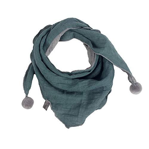 Westeng Kinder Schals Niedlich Dreieck Schal aus Baumwolle mit Haarball, Warmer und Winddicht Halstücher für Winter (grün)