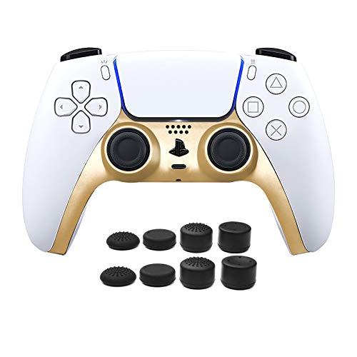 2PCS PS5 Controller Face Plate, Piastra Frontale per Controller PS5, Striscia Decorativa per Controller PS5 con 8pcs PRO FPS Joystick Thumb Grip para PS4/PS5 Controller - Oro