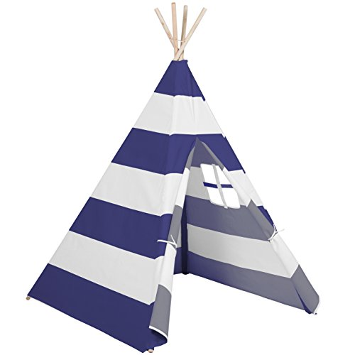 Best Choice Products 6ft Kids Stripe Canvas Teepee Playhouse Sleeping Dome Play Tent w/ Carrying Bag - White/Blue