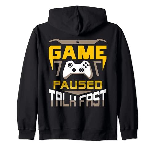 Juego Paused Talk Fast Funny Gaming Games Gamer Gift Sudadera con Capucha