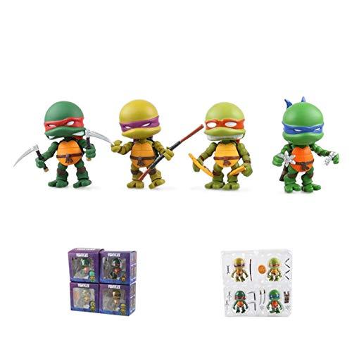JGUSVYT Teenage Mutant Ninja Turtles Toys Ninja Turtles Figuras Conjuntos Figura de Acción Modelo de Personaje de Anime Juguetes para La Colección de Cumpleaños de Los Niños 8 Cm / 3 Pulgadas