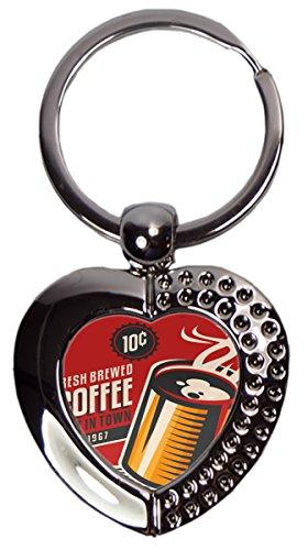 Schlüsselanhänger Kaffee Cafe Bar frisch gebrühter Kaffee Herz bedruckt
