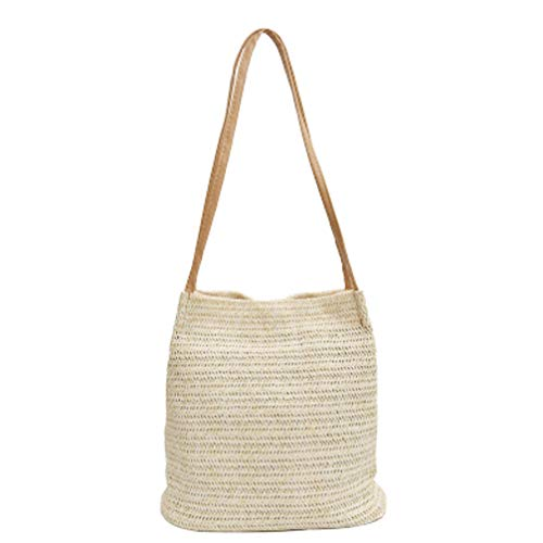 TENDYCOCO bolso bandolera de paja bolso de hombro mujer bolso de mano grande de verano de playa bolso (beige claro)