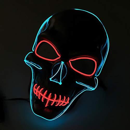 Queta LED Halloween Masques, Lumière Masque d'horreur Effrayant EL Wire avec 4 Modes pour Halloween Fête Noël Cosplay Grimace Festival Party Show, Alimenté par Batterie (Yeux Rouges)