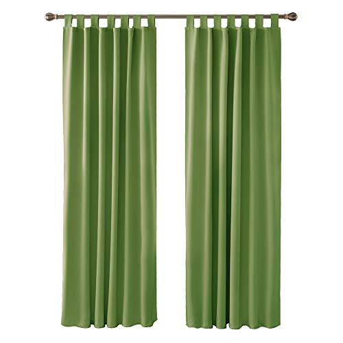 Deconovo Tende Oscuranti Termiche Isolanti con Passanti per la Casa 140x290 CM Verde 2 Pannelli