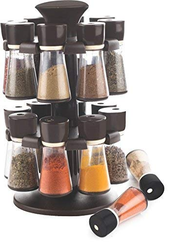 Premium kunststof 16 potten kruid en kruid carrousel | roterende kruidenrek met 16 potten | 20cm Dia x 29cm hoog